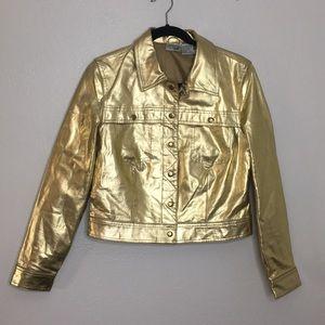 Vintage gold metallic leather jacket jeanology 6